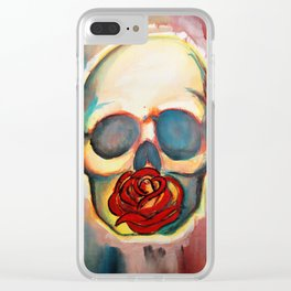 Watercolor Skull and Rose Clear iPhone Case