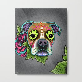 Boxer in White Fawn - Day of the Dead Sugar Skull Dog Metal Print