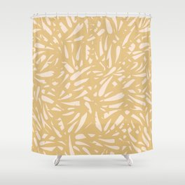 Bamboo Leaves in Light Gold / Ink Mood Shower Curtain