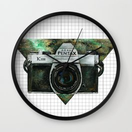 Pentax K1000 (Green Nebula) Wall Clock