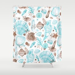 SeaShells Light Blue & Brown Shower Curtain