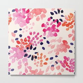 Flower abstract, watercolor floral pattern Metal Print