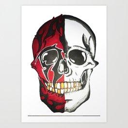 twofaced skull Art Print