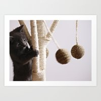 kitten Art Prints featuring Kitten  by Anne Staub