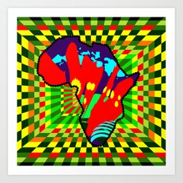 Colorful African Checkered Abstract Print Art Print