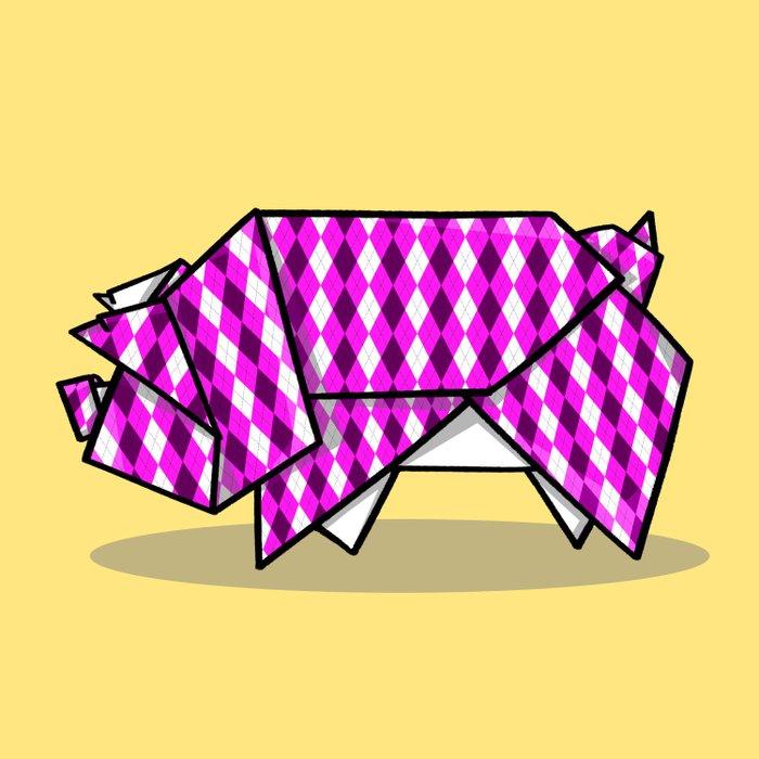 Origami Pig Duvet Cover