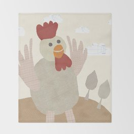 rooster collage Throw Blanket