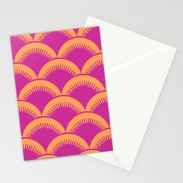 Japanese Fan Pattern Magenta and Orange Stationery Cards