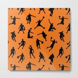 Basketball Players // Orange Metal Print