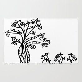 Strong Roots - Black and White Rug