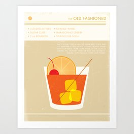 Old Fashioned Cocktail Art Print Art Print