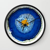 agate Wall Clocks featuring Agate Blue  by Xchange Art Studio
