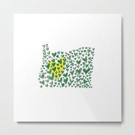 Love for Oregon - Big Heart - Green & Yellow Metal Print