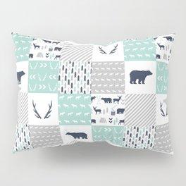 Camper antlers bears pattern minimal nursery basic navy mint white camping cabin chalet decor Pillow Sham