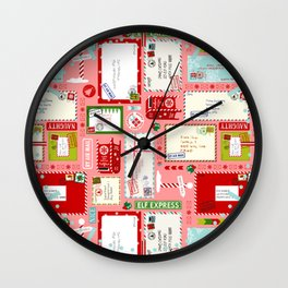 Kids Letters to Santa l Christmas Pattern - Pink Wall Clock