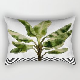 Banana Plant on White Marble and Checker Wall Rectangular Pillow