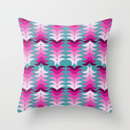 tropical floral on blue Throw Pillow