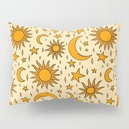 Vintage Sun and Star Print Pillow Sham
