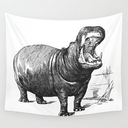 Hippopotamus black and white retro drawing Wall Tapestry