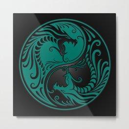 Teal Blue and Black Yin Yang Dragons Metal Print