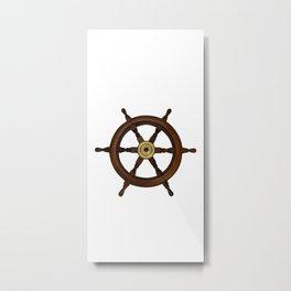 old oak steering wheel for ship or boat Metal Print