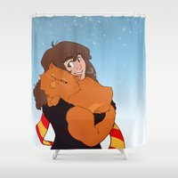 hermione Shower Curtains featuring Hermione and Crookshanks by AnimonInk