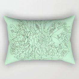 Bouquet in Green Rectangular Pillow