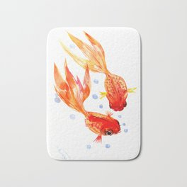 Goldfish Nursery Illustration Feng Shui Two Fish Art Bath Mat