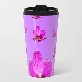 PURPLE ORCHID FLOWERS RAIN YELLOW ART Travel Mug