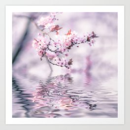 Zen Style Cherry Blossom and Water Art Print