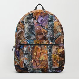 Birch Trees with Palette Knife by OLena Art for @society6 Backpack