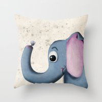 baby elephant Throw Pillows featuring Baby Elephant by David Owen Breeding