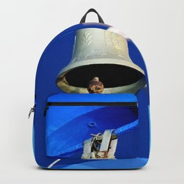 Church bell and cross of a greek orthodox church Backpack