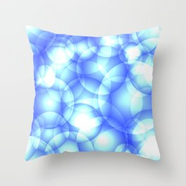 Gentle intersecting blue translucent circles in pastel colors with a heavenly glow. Throw Pillow
