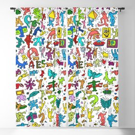 Doodles Homage to Keith Haring Color Blackout Curtain