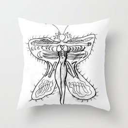 Butterfly with girl Throw Pillow