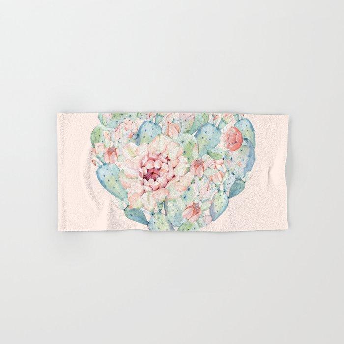 Cactus Rose Heart on Pink Hand & Bath Towel