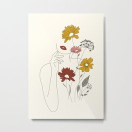 Colorful Thoughts Minimal Line Art Woman with Flowers III Metal Print