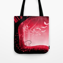 Dark Forest at Dawn in Ruby Tote Bag