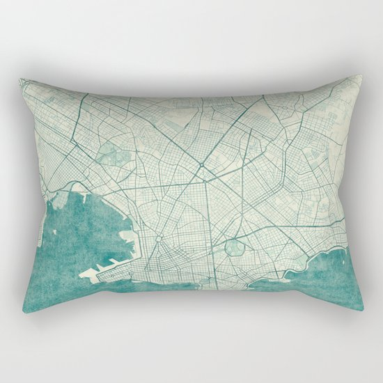 Montevideo Map Blue Vintage Rectangular Pillow