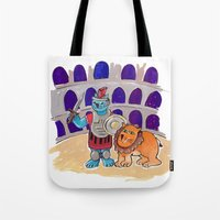 gladiator Tote Bags featuring Gladiator Kitty - Art by Ted Meyer by Rothco Press