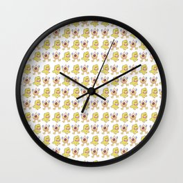 Funny orange lime green cute monsters pattern Wall Clock