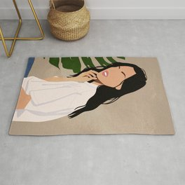 Woman in nature Rug