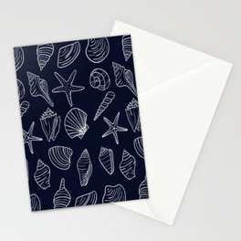 Navy Blue And White Seashell pattern Stationery Cards