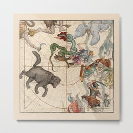 Pictorial Celestial Map with Constellations Ursa Major and Ursa Minor Metal Print