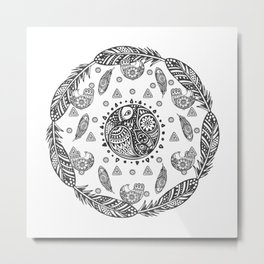 mandala ornament bohemian birds ethnic tribal boho feathers black Metal Print