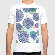 Fall Love Mandala in Blue White Mens Fitted Tee MEDIUM