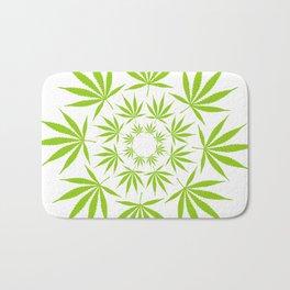 Cannabis Leaf Circle (White) Bath Mat