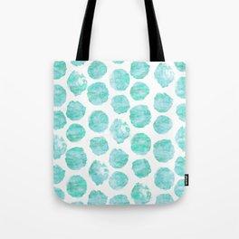 Turquoise and Aqua Watercolor Dots Tote Bag