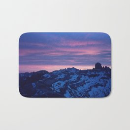 Romantic Sunset in the Snowy Mountains/Alps Bath Mat